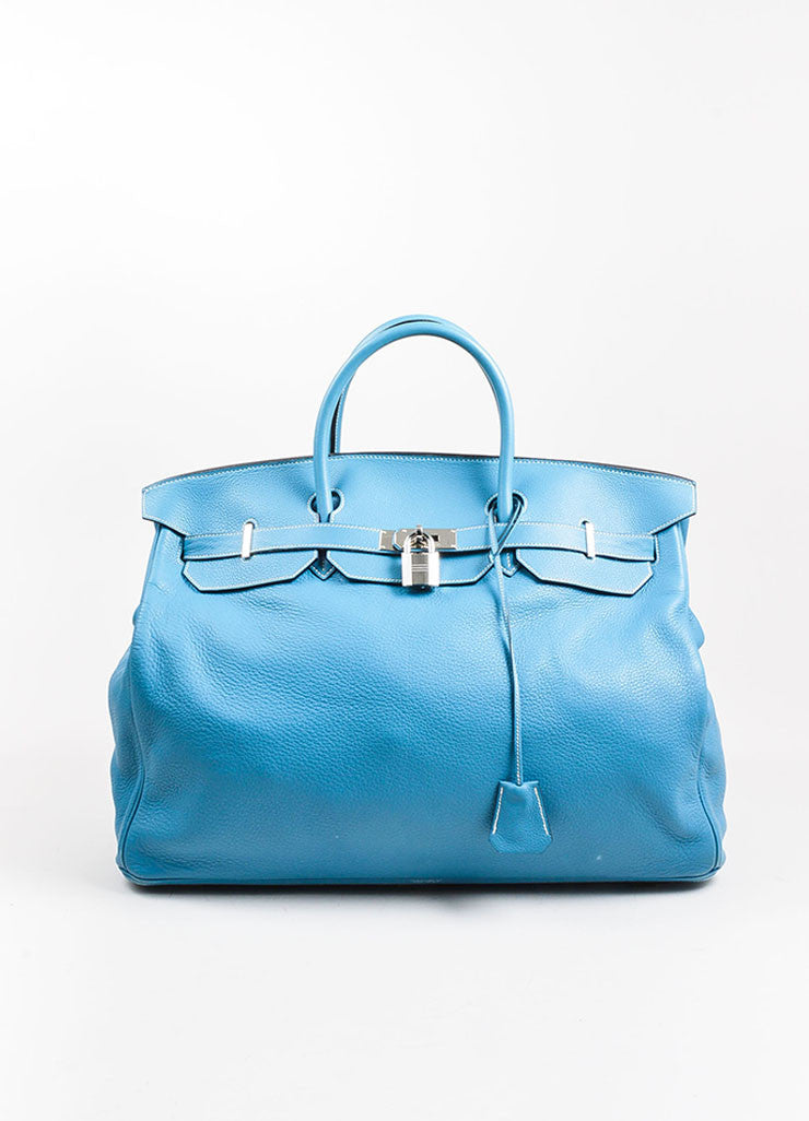 "Blue ""Saint Cyr"" Hermes SHW Leather 50cm ""Birkin"" Bag Front"