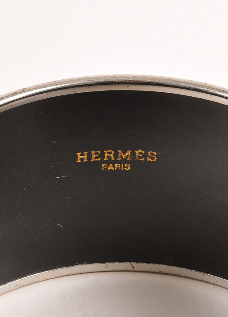 "Silver Toned, Teal, and Gold Toned ""HERMES"" Printed Enamel Bangle Bracelet"