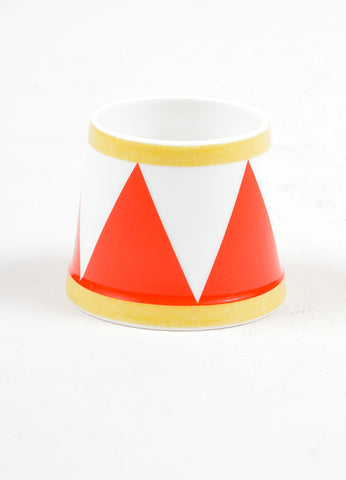 "White, Red and Yellow Hermes Porcelain ""Le Tambour"" Circus Theme Egg Holder front"