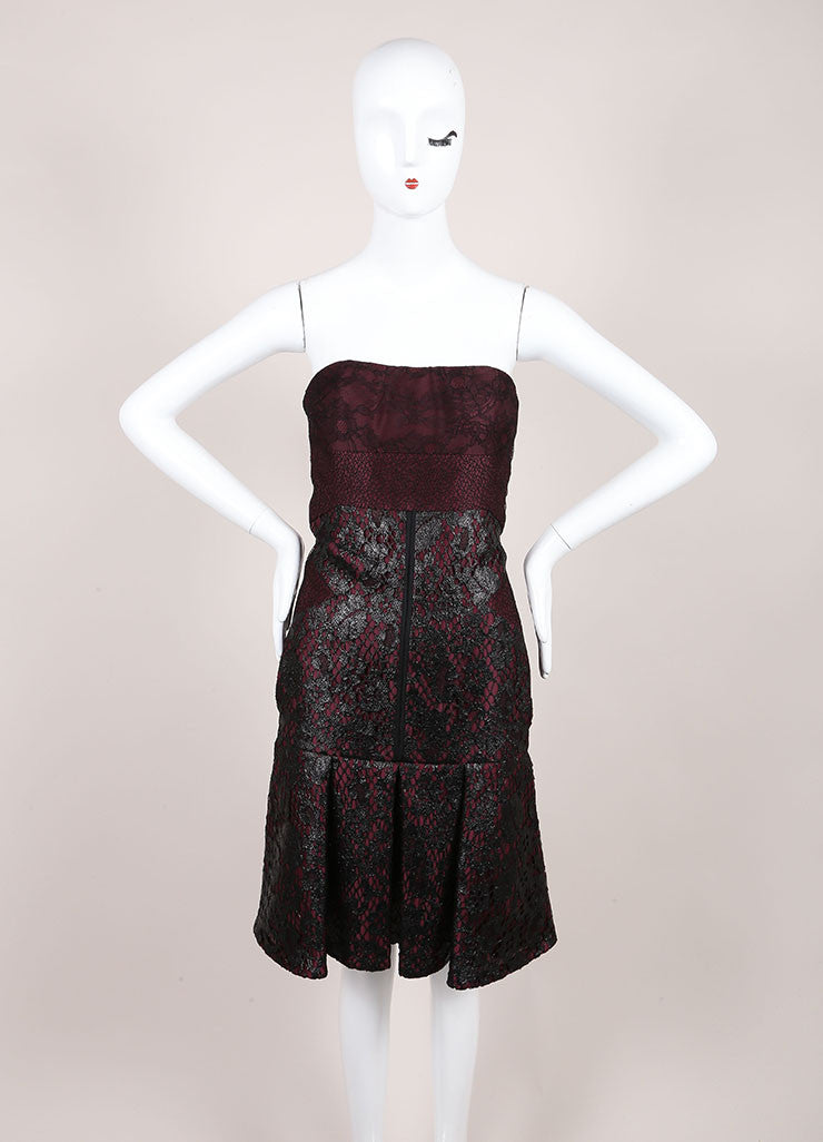J. Mendel New With Tags Burgundy And Black Silk Metallic Lace Strapless Dress Frontview