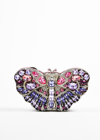 "Judith Leiber Pink Crystal Jeweled Butterfly LE ""Celestrina"" Clutch Bag Frontview"