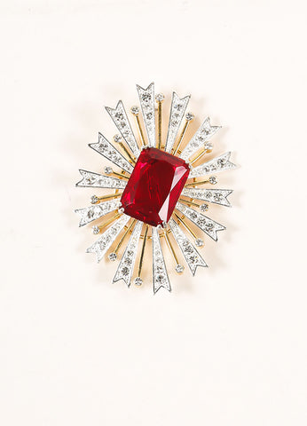 Kenneth Jay Lane Gold and Silver Toned and Red Glass Rhinestone Burst Pin Frontview