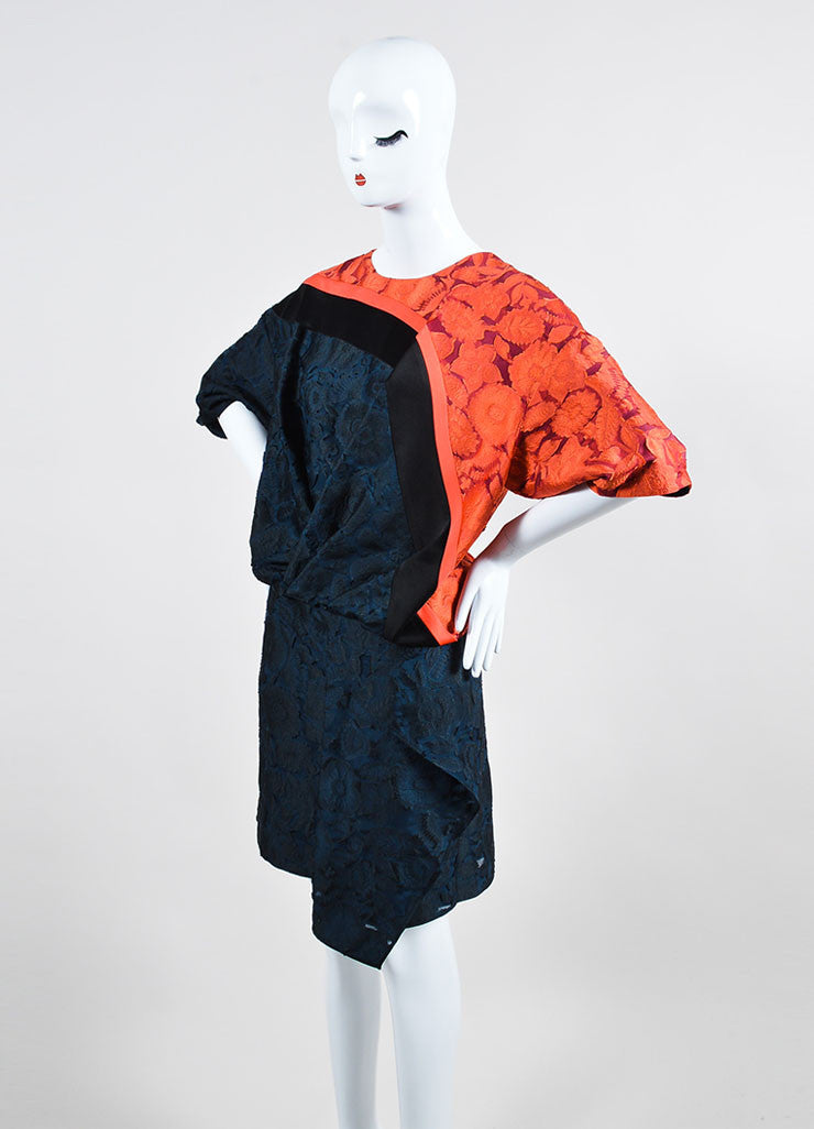 "Orange, Blue, and Black Kenzo Burnout Brocade ""Shadow Flowers"" Dress Sideview"