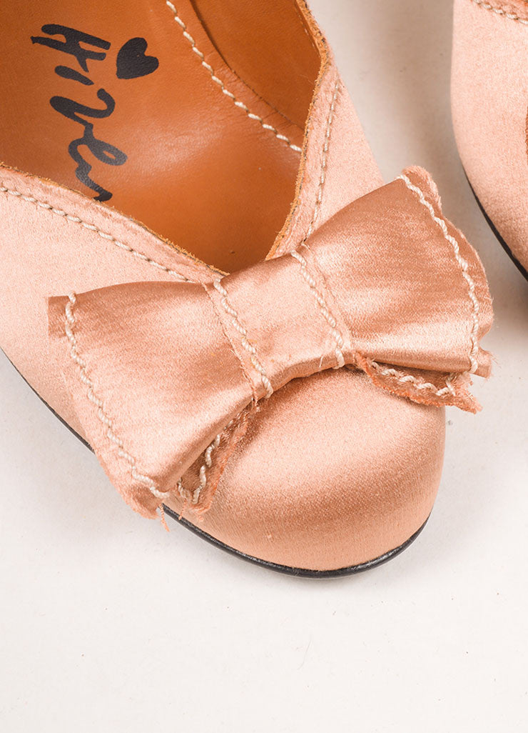 Lanvin Dusty Pink Satin Bow Pumps Detail