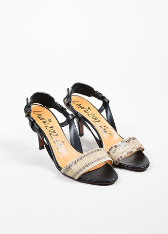 Black and Grey Lanvin Snakeskin Leather Slingback Heeled Sandals Frontview