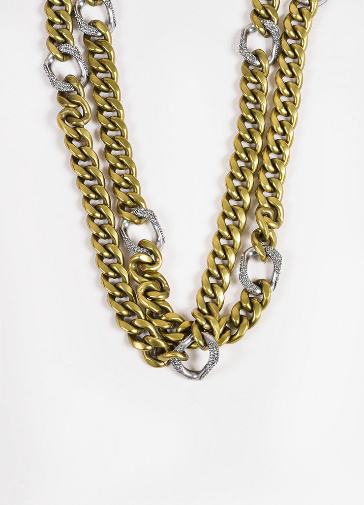 Lanvin Brass and Silver Toned Pave Crystal Layered Chunky Curb Chain Necklace Detail