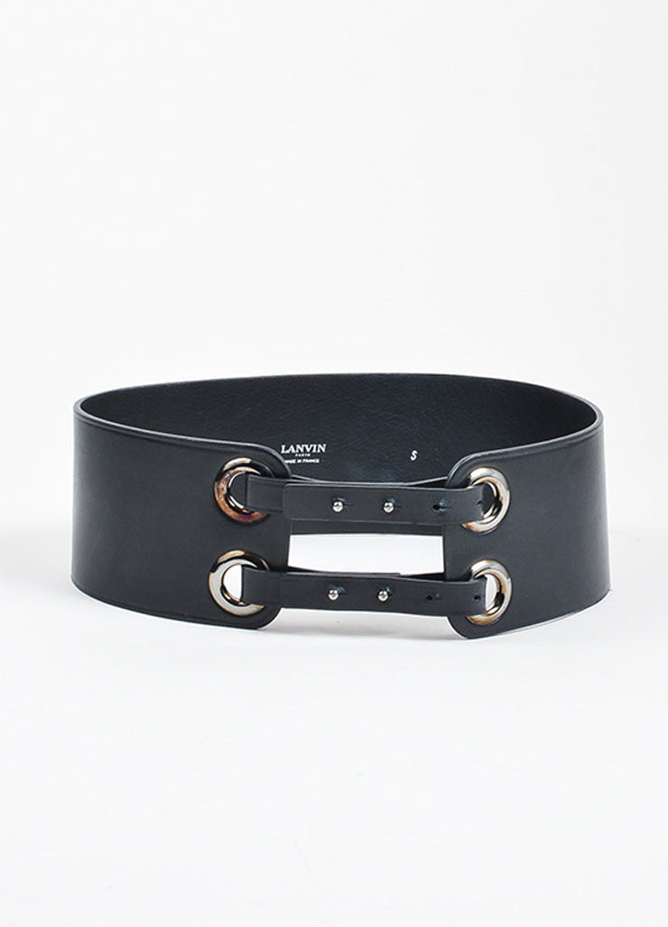 Black Lanvin Leather Double Loop Strap Wide Waist Belt Frontview