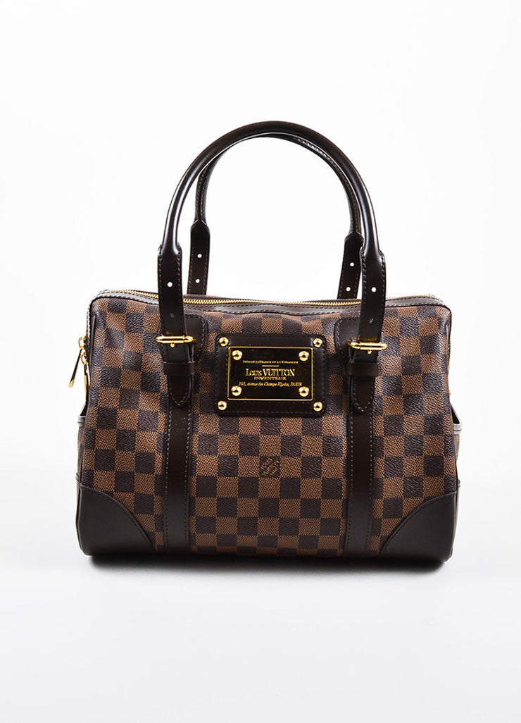 "Louis Vuitton Brown Damier Coated Canvas Leather Trim ""Berkeley"" Bag Frontview"