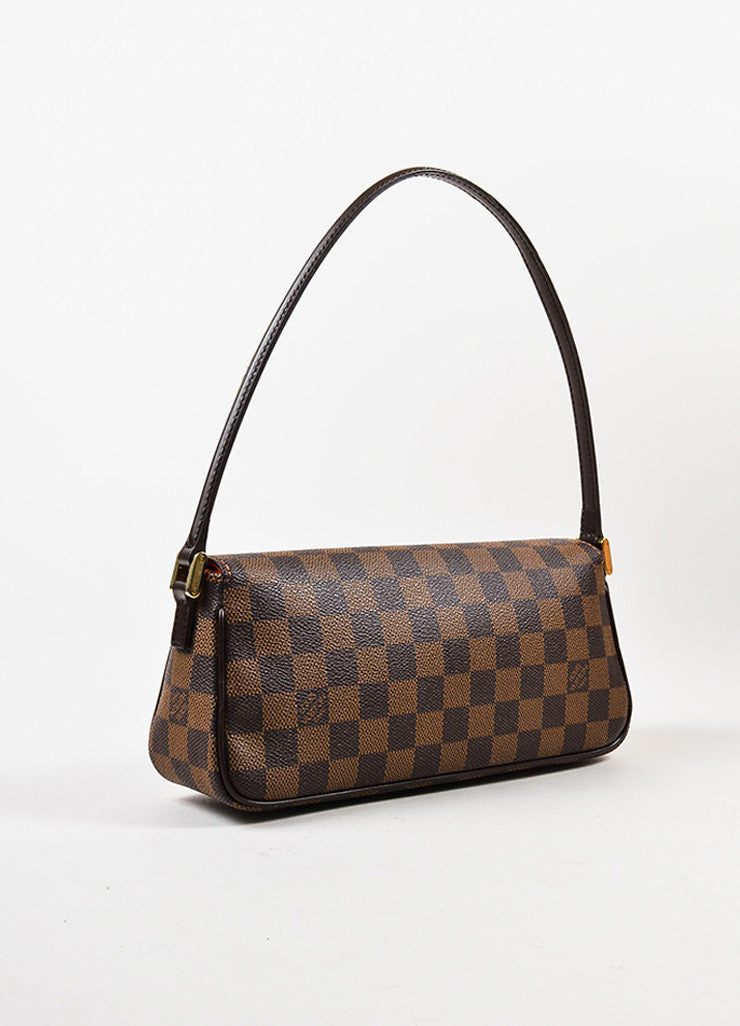 "Louis Vuitton Brown Damier Canvas Leather ""Recoleta"" Shoulder Baguette Bag Sideview"