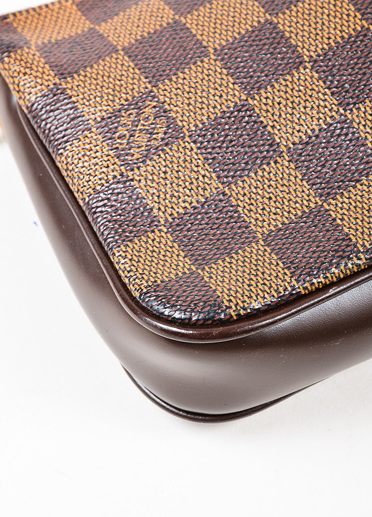 "Louis Vuitton Brown ""Damier"" Canvas Leather ""Trousse Accessoires Pochette"" Bag Detail"