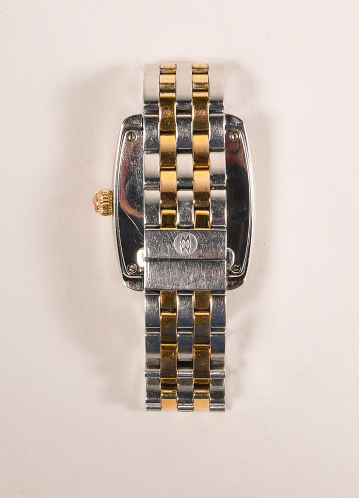 Michele Silver and Gold Toned Stainless Steel Watch Backview