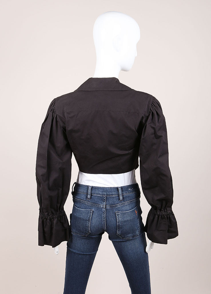 Moschino Couture! Dark Grey Cotton Pleated Long Sleeve Tie Crop Top Backview