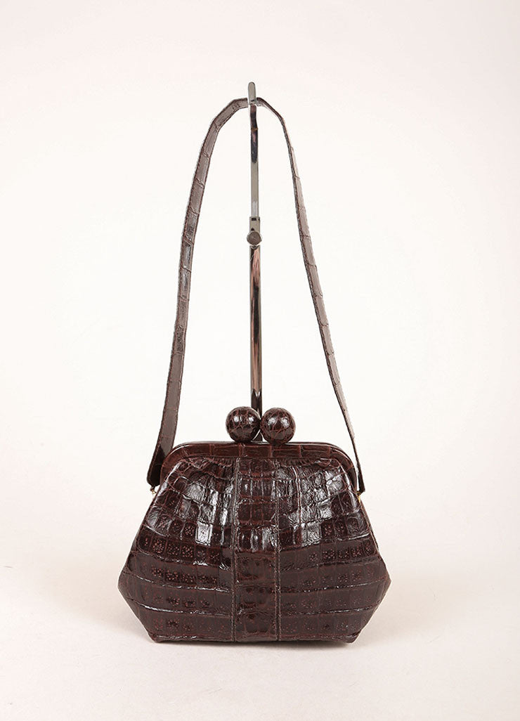 Nancy Gonzalez Brown Crocodile Ball Clasp Small Shoulder Bag Frontview