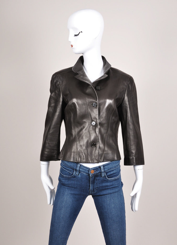 Narciso Rodriguez Brown Leather Three Quarter Sleeve Tailored Jacket Frontview