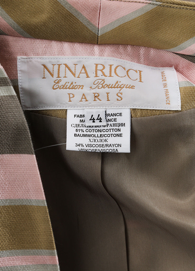 Nina Ricci Grey, Pink, and Multicolor Satin Knit Striped Coat Brand
