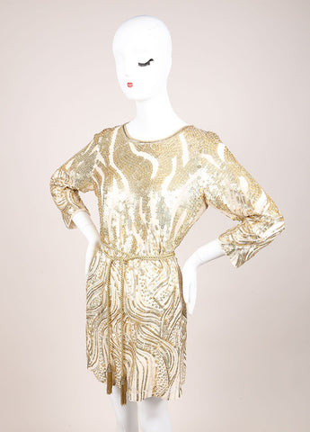 Oscar de la Renta Cream and Gold Sequin Embellished Belted Shift Dress Sideview