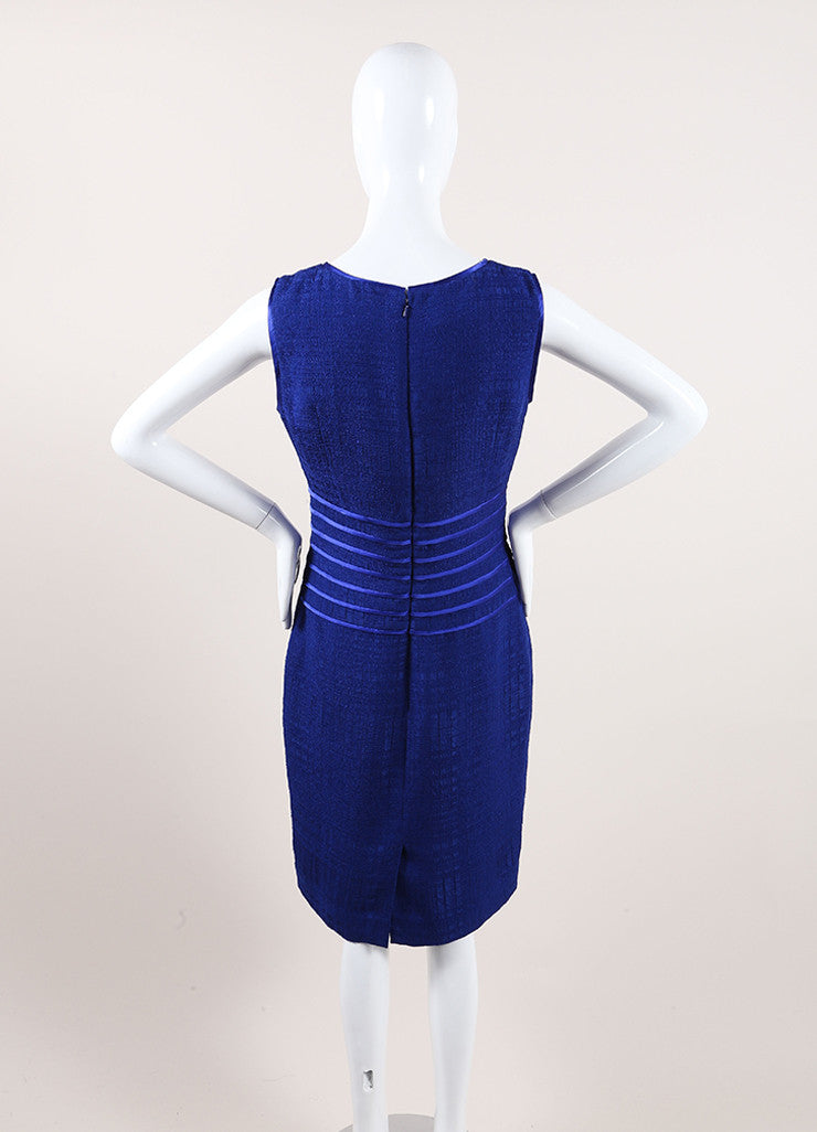 Oscar de la Renta New With Tags Blue Woven Knit Satin Trim Sleeveless Dress Backview
