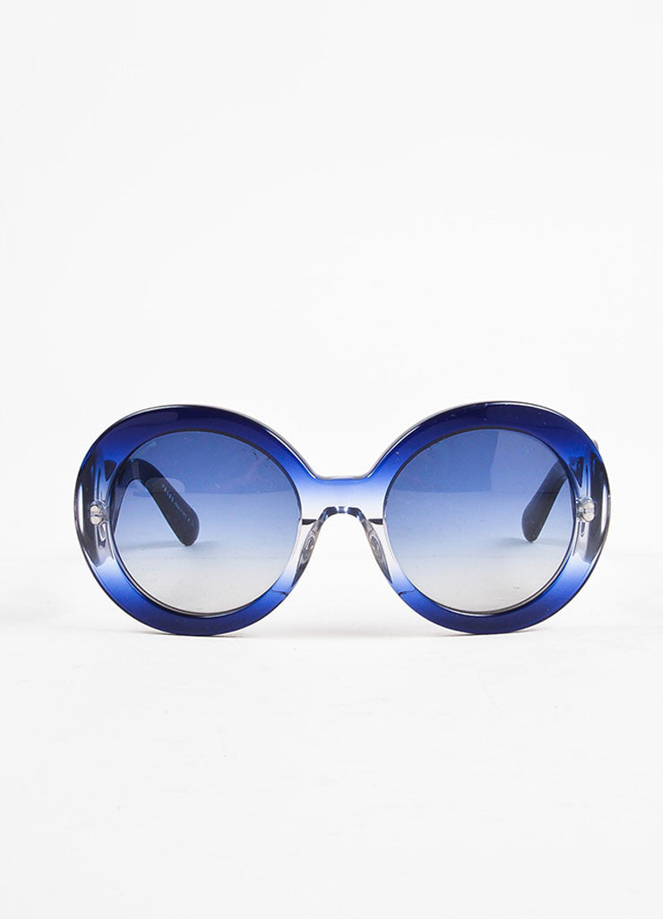"Prada Blue Round Frame ""Baroque"" Sunglasses Frontview"