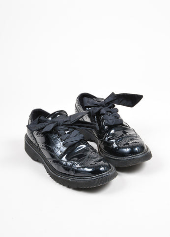 Black Prada Sport Patent Leather Lace Up Brogues Front