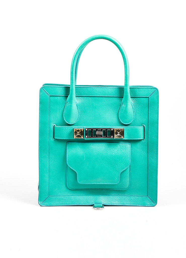 "Kelly Green Proenza Schouler Grain Leather Top Handle ""PS11"" Tote Bag Frontview"