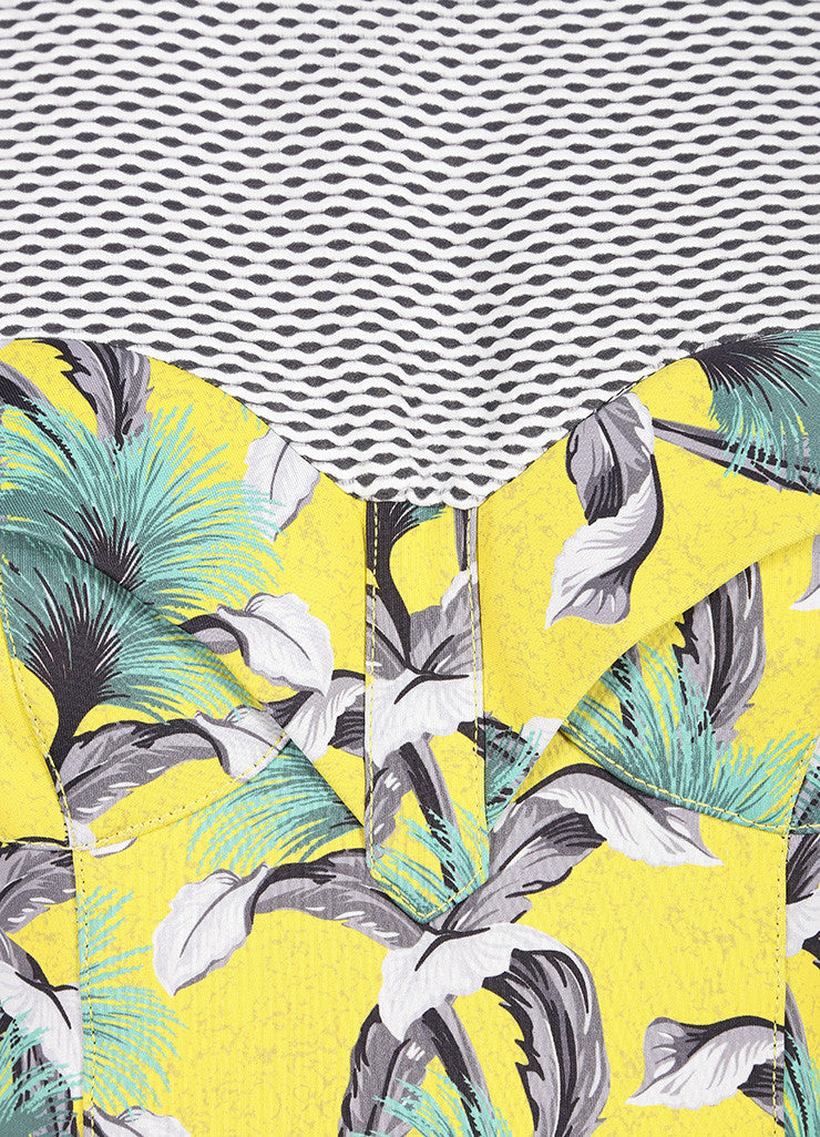 Proenza Schouler Yellow, Black, and Multicolor Tropical Print Sleeveless Neoprene Wrap Dress Detail