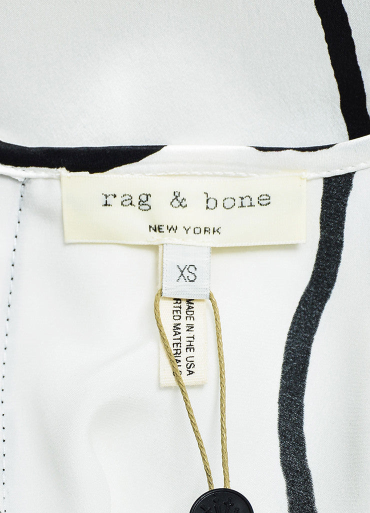 Rag & Bone White Black Silk Line Printed Short Sleeve Top Brand