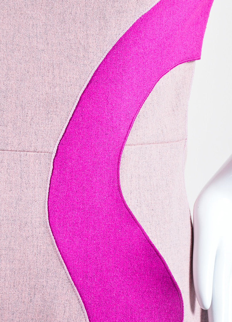 "Pink Roksanda Wool Ruffle ""Marsta"" Three Quarter Sleeve Dress Detail"