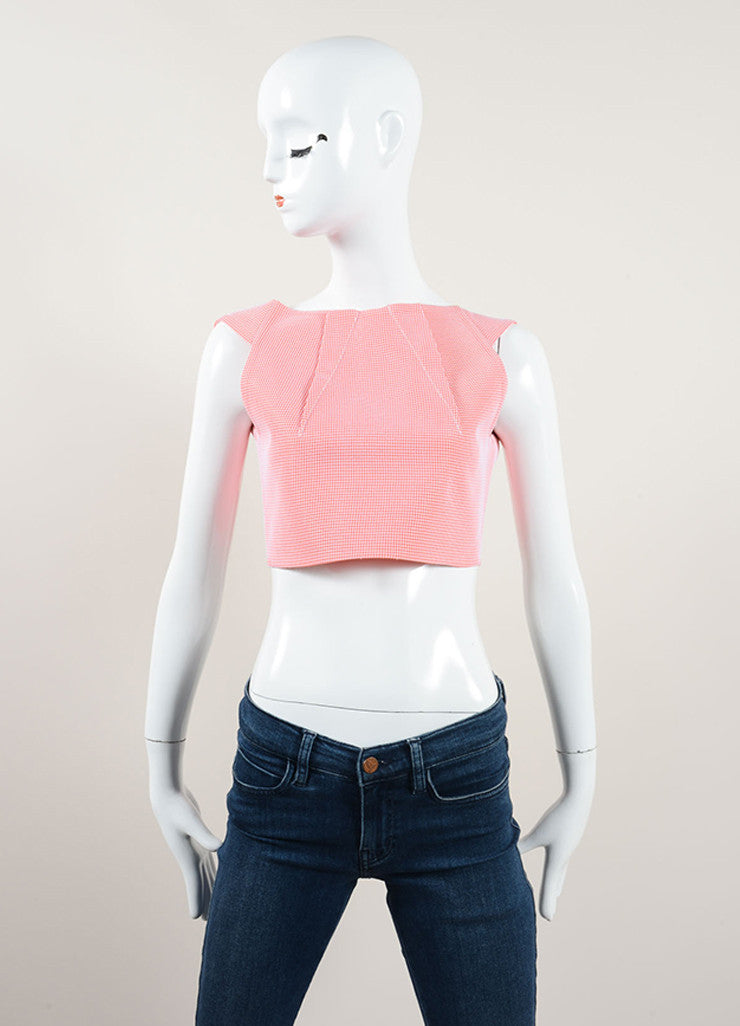 "Roland Mouret Coral and White Bonded Grid Mesh ""Kerme"" Sleeveless Crop Top Frontview"