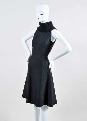 Black Sally Lapointe Wool Turtleneck Jacquard Sleeveless Dress Sideview
