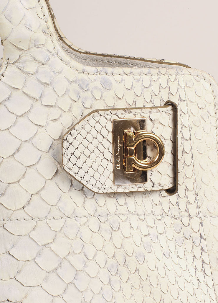 Salvatore Ferragamo Cream Snakeskin Leather Top Handle Tote Bag Detail 2