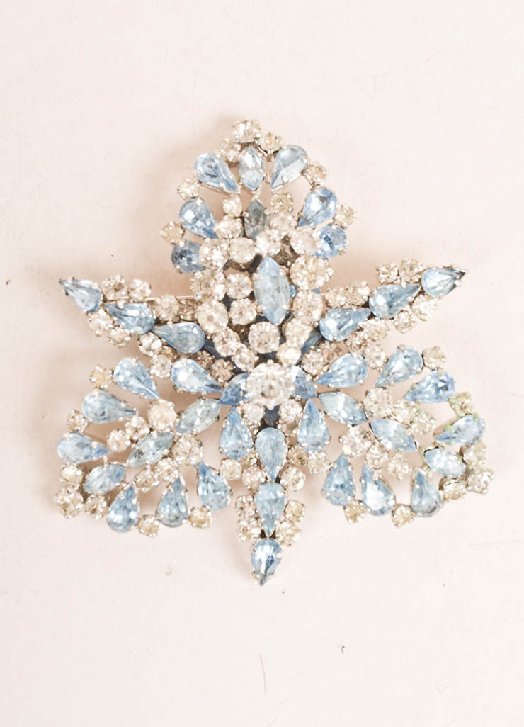 Schiaparelli Silver Toned and Blue Rhinestone Orchid Pin Frontview