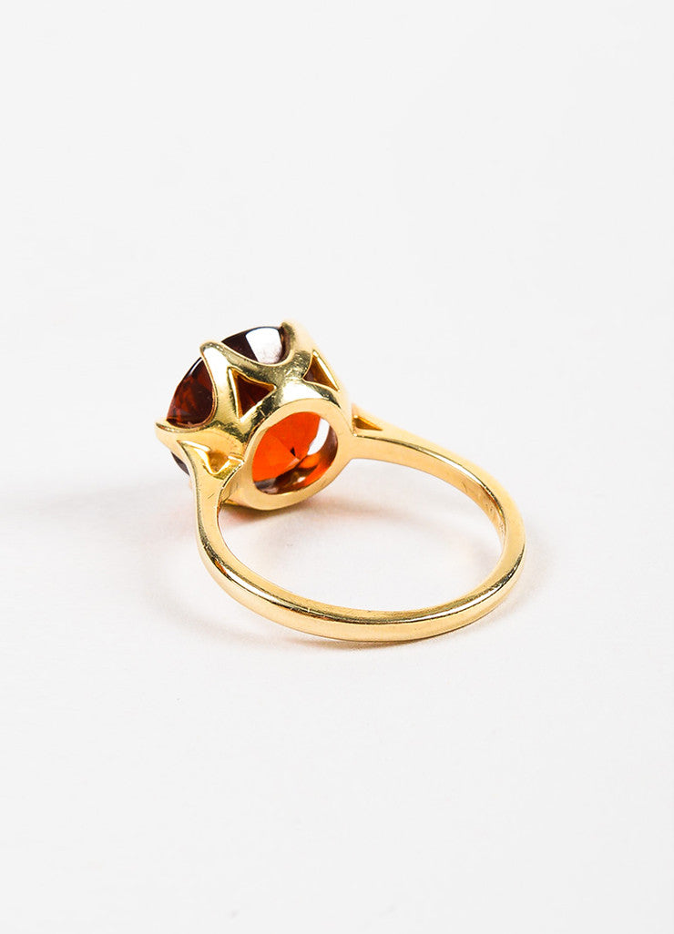 Sydel & Sydel Jewelry 14K Yellow Gold and Round Garnet Stone Solitaire Ring Backview