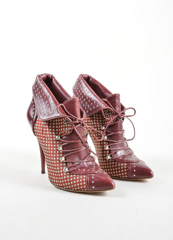 Tabitha Simmons Red Leather and Satin Pointed Toe Lace Up High Heel Booties Frontview