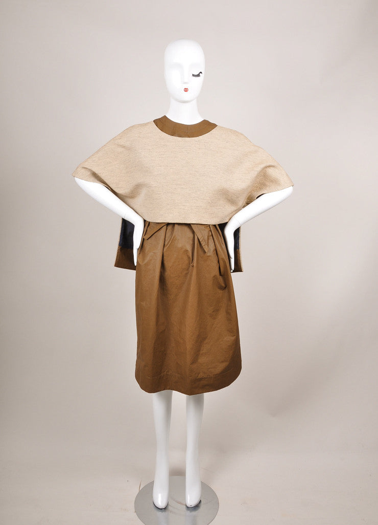 "The Row New With Tags Brown and Beige Coated Tweed Overlay ""Lia"" Combo Dress Frontview"