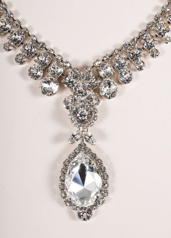 Thorin & Co. Silver Toned and Rhinestone Embellished Pear Drop Pendant Necklace Detail