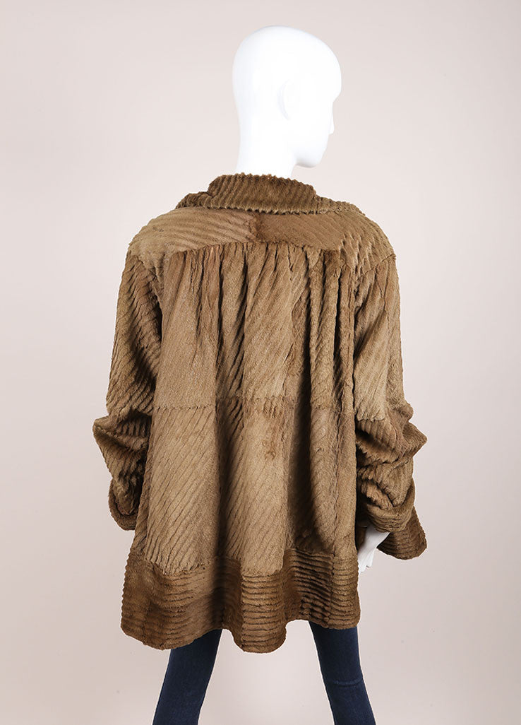 Fendissime by Fendi Brown and Green Sheared Beaver Fur Swing Coat Backview