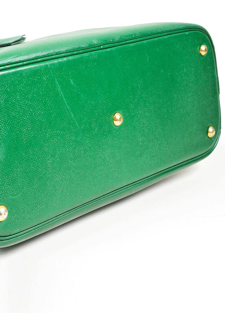 "Kelly Green Hermes Leather ""Bolide 35cm"" Structured Satchel Bag Bottom View"
