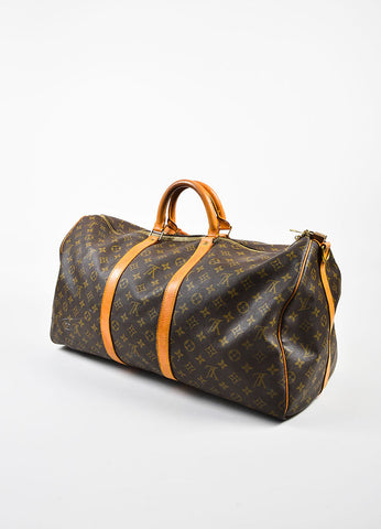 "Louis Vuitton Brown and Tan Coated Canvas and Leather Monogram ""Keepall 60"" Bag Sideview"