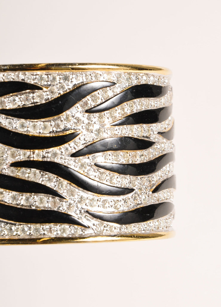 Valentino Gold Toned and Black Metal, Enamel, and Rhinestone Zebra Hinge Cuff Bracelet Detail