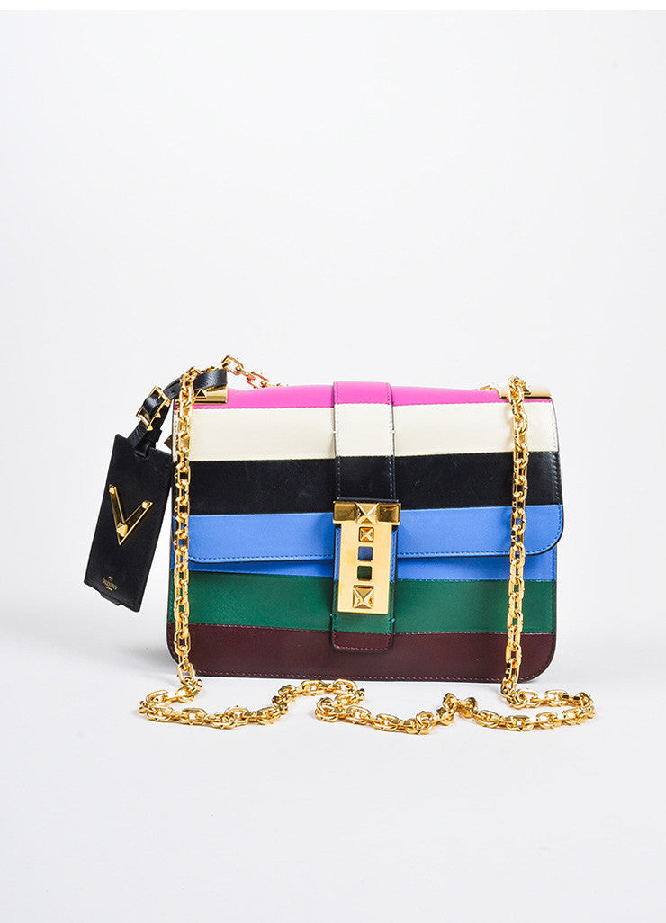 "Multicolor Valentino Garavani Leather Stripe ""B Rockstud"" Flap Handbag Frontview"