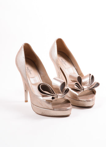 Valentino Metallic Gold Suede Bow Peep Toe Platform Pumps Frontview