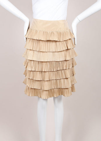 Valentino Tan Silk Tiered Pleated A-Line Skirt Frontview