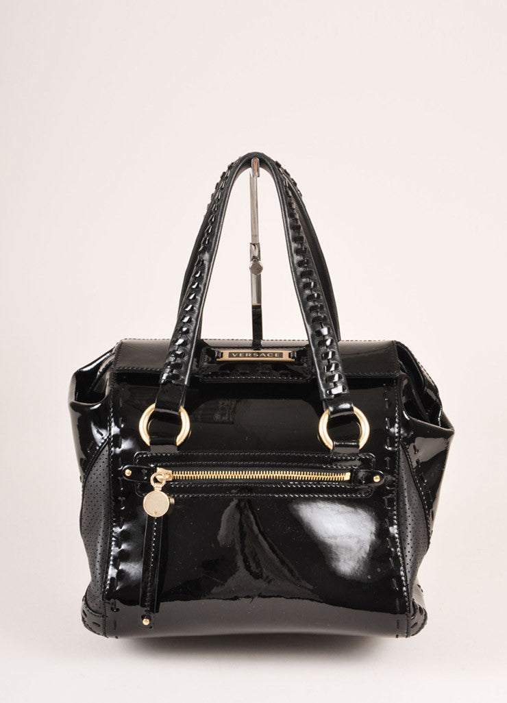 Versace Black Patent Leather Handbag Frontview