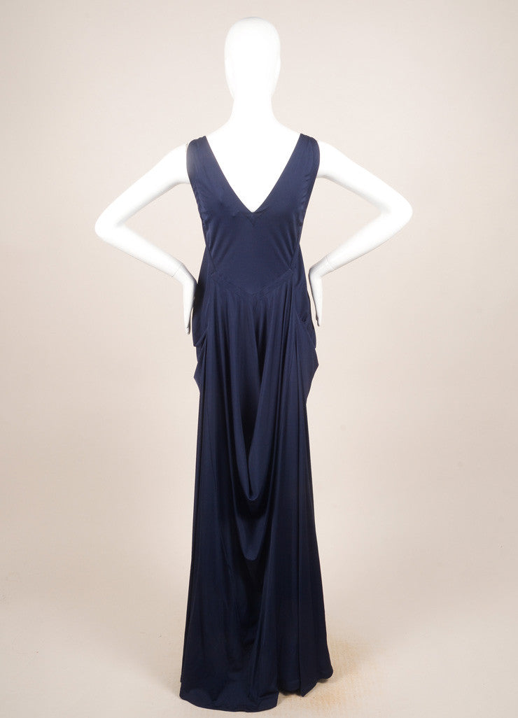 Yves Saint Laurent Blue Sleeveless Draped Gown Backview