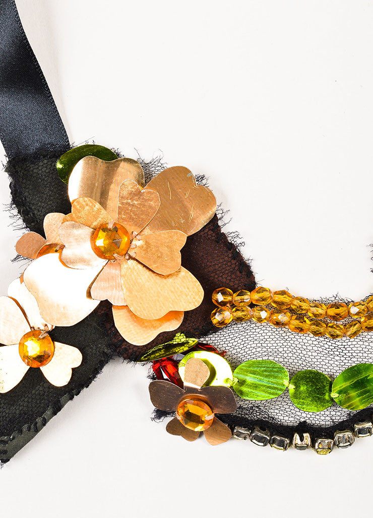 Lanvin Black, Metallic Gold Toned, and Multicolor Cut Out Flower Crystal Bib Tie Necklace Detail
