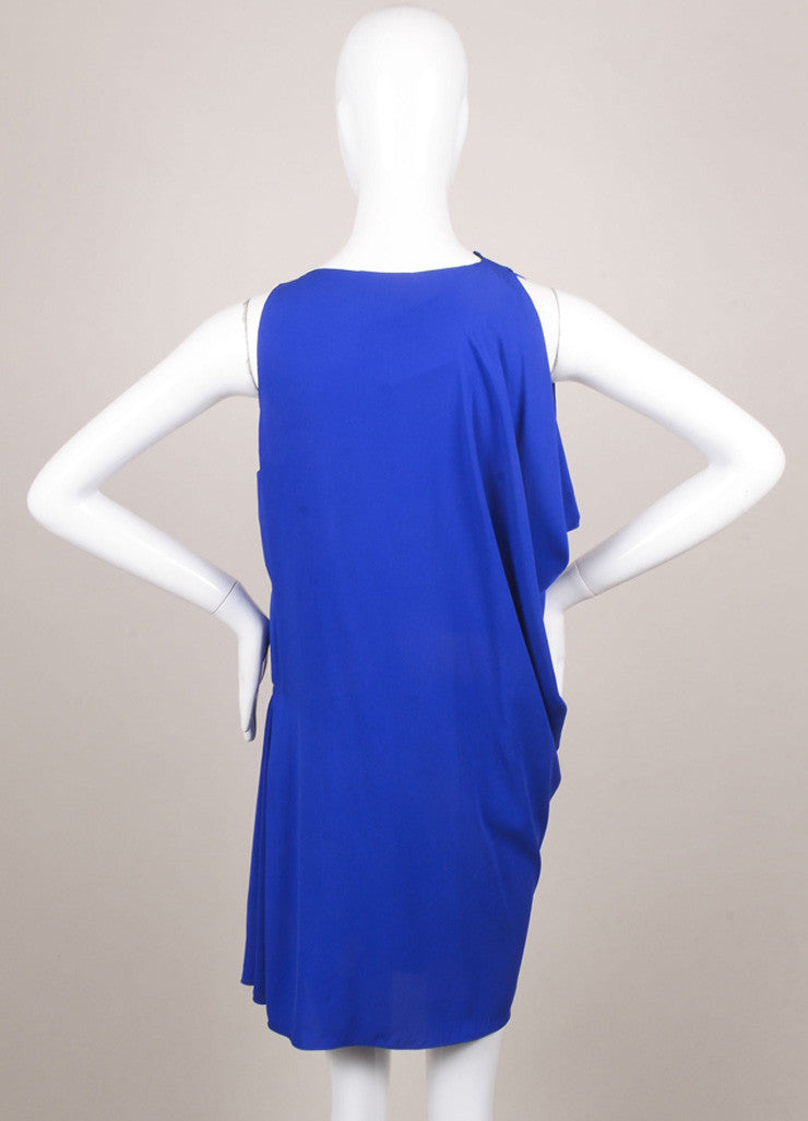 Lanvin Royal Blue Silk Draped Ruched Dress Backview