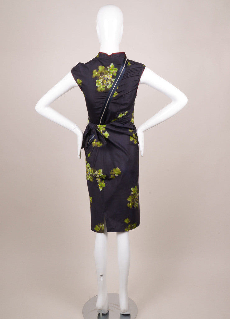 6267 Navy and Green Silk Floral Print Ruched Pinstripe Dress Backview