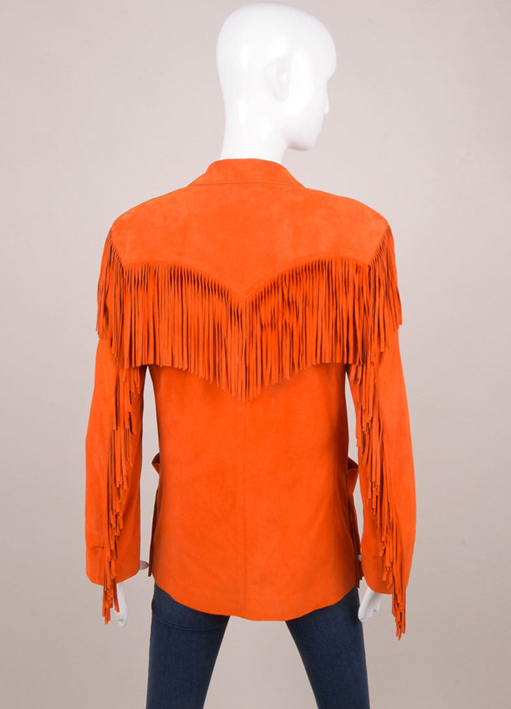 Red Orange Fringe Suede Jacket