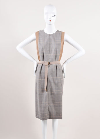 Akris Punto Multicolor Brown Houndstooth Plaid Sleeveless Belted Dress Frontview