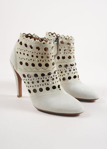 Alaia Cream Suede Cut Out Zip Heeled Ankle Boots Frontview